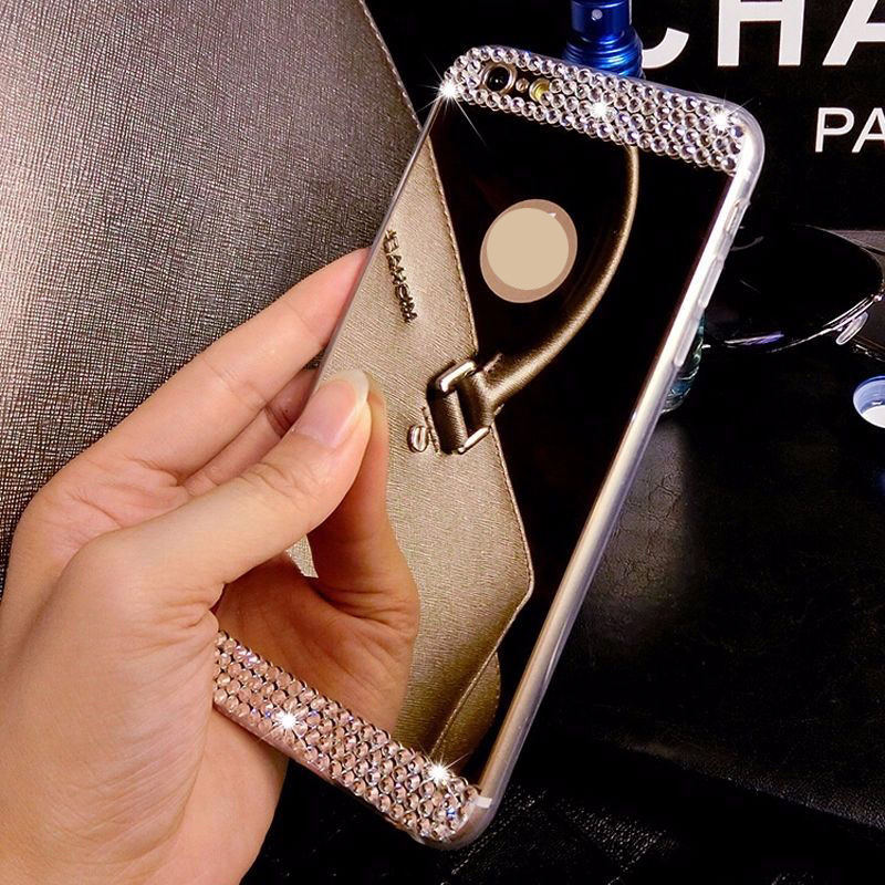 Brand Luxury Rhinestone Diamond Mirror TPU Soft Gel Bling Case Cover For Apple iPhone 5 5s 6 4.7'' 6 plus 5.5'' Case Back Cover(China (Mainland))