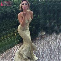 long evening dress 2016 new arrival formal dresses fashionable abendkleider golden sparkly lace sequins ruffles fish