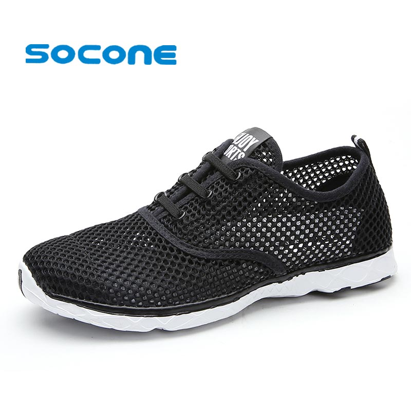 Socone Plus Size Men Summer Running Shoes Women Sneakers 2016 Mesh Breathable Sport Shoes Men Beach Water Shoes WomensTrainers(China (Mainland))