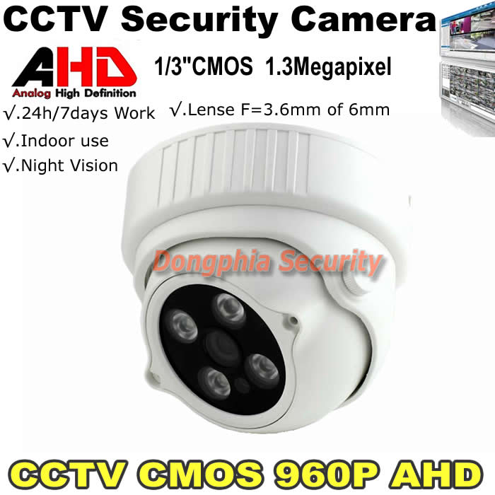 HD 1.3MP 960p AHD Dome Security Camera Outdoor 3.6mm Lens 4pcs array LEDs ICR Auto Day Night Video Surveillance free shipping(China (Mainland))