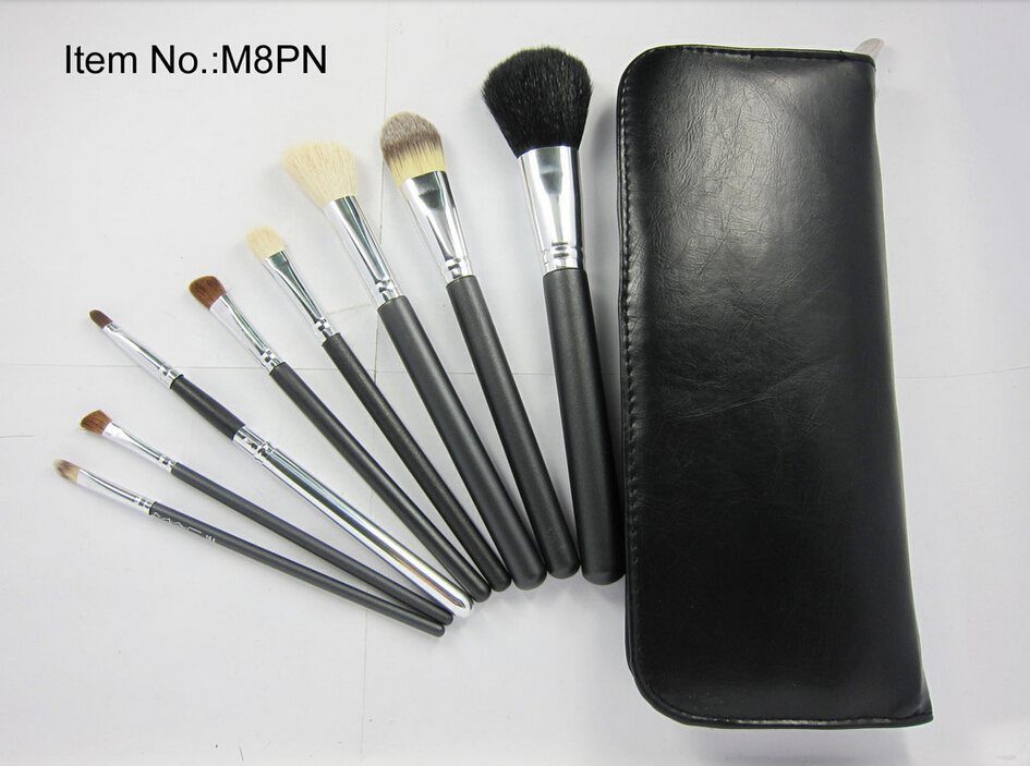 New Arrival cosmetic make up brushes professional 8 pcs set Brushes+Leather Pouch (20sets/lots) Free Shipping<br><br>Aliexpress