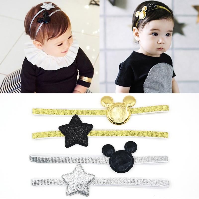 2 PCS 2017 Newly Design Mickey Children's Elastic Hair Band Girls Hair Accessories Baby Star Shining Headbands Kids Headwear