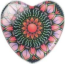 TAFREE בציר הודו חינה יוגה מנדלה פרח לב צורת 25mm זכוכית קרושון קסמי תליון שטוח חזור ביצוע ממצאי(China)