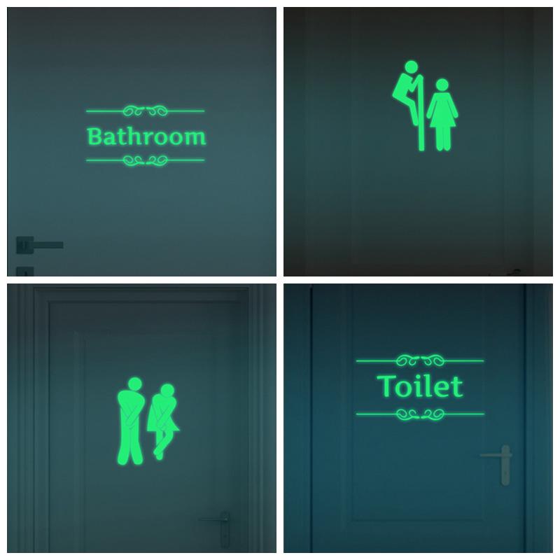 Creative Luminous Wall Stickers Bathroom Decoration Toilet Door Vinyl Wall Art Decals Glow in the Dark Quote Sticker Home Decor(China (Mainland))