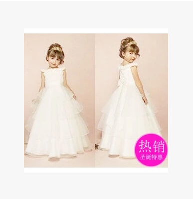 Girls princess child costumes flower girl dress children dress wedding winter white mopping the floor(China (Mainland))