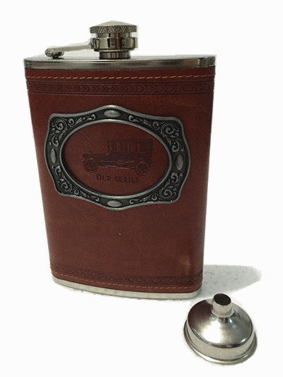 9oz Portable Stainless Steel Hip Flask Flagon Metal Patch Whiskey Wine Pot Leather Cover Bottle + Funnel Travel Tour Drinkware(China (Mainland))