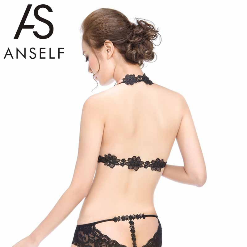 ANSELF Front Closure Sexy Women Lace Bra Halter Neck Adjustable Straps Racerback Seamless Padded Push up Bra 2016 New Arrival(China (Mainland))