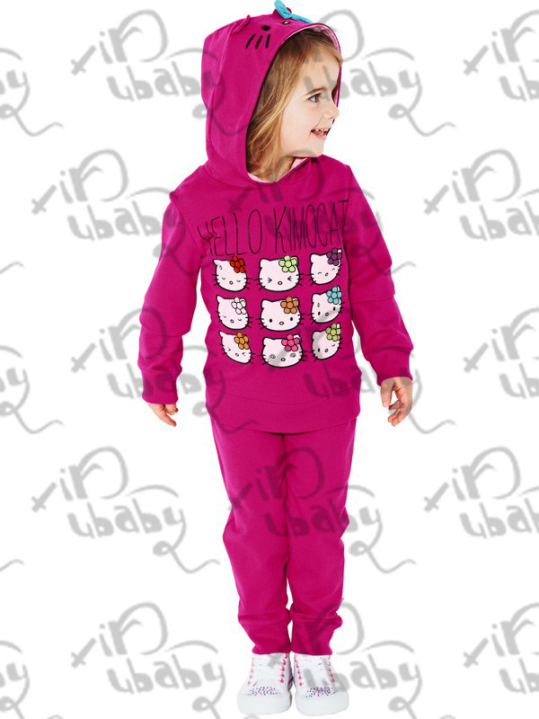 Retail Baby Girl Hello Kitty Winter Autumn Hoodies+Pants Kids Clothing Sets Children Autumn hoodies Suits Pink rose(China (Mainland))
