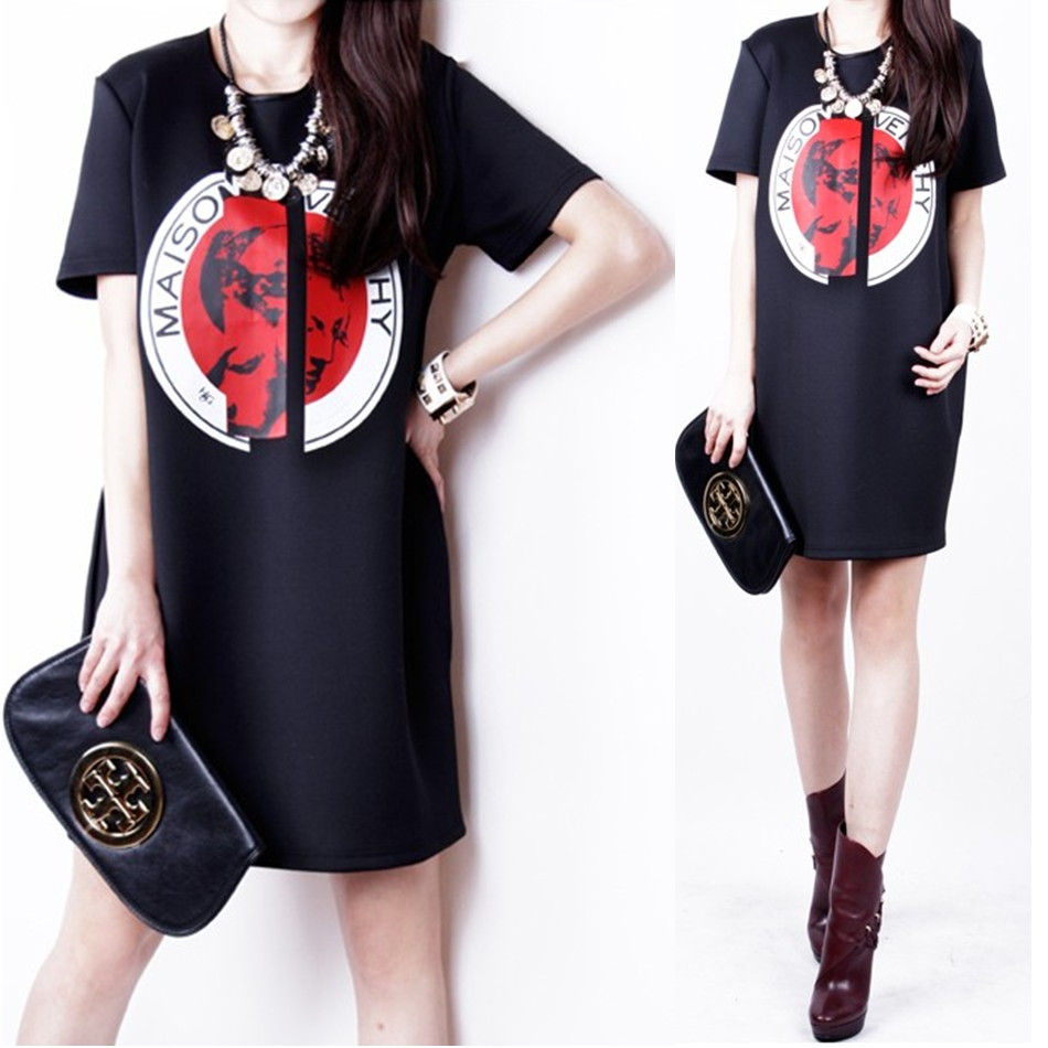 2014 summer women one-piece dress fashion slim hip short-sleeve o-neck loose black basic skirt - jim yue's store