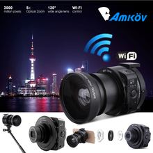 AMKOV AMK-OX5 Wifi Lens-style Digital Camera With 4X digital 5X Optical Zoom Full HD 1080P 30fps 20MP Camera For Smartphone(China (Mainland))