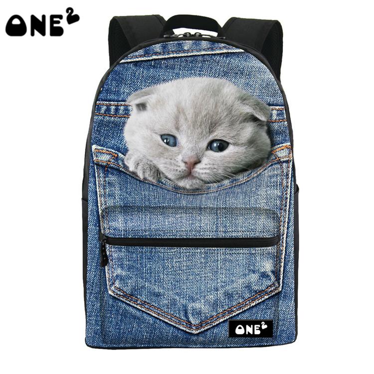 ONE2 Design jean blue pocket cat animal school bag laptop backpack college teenager boys girls university students women man(China (Mainland))