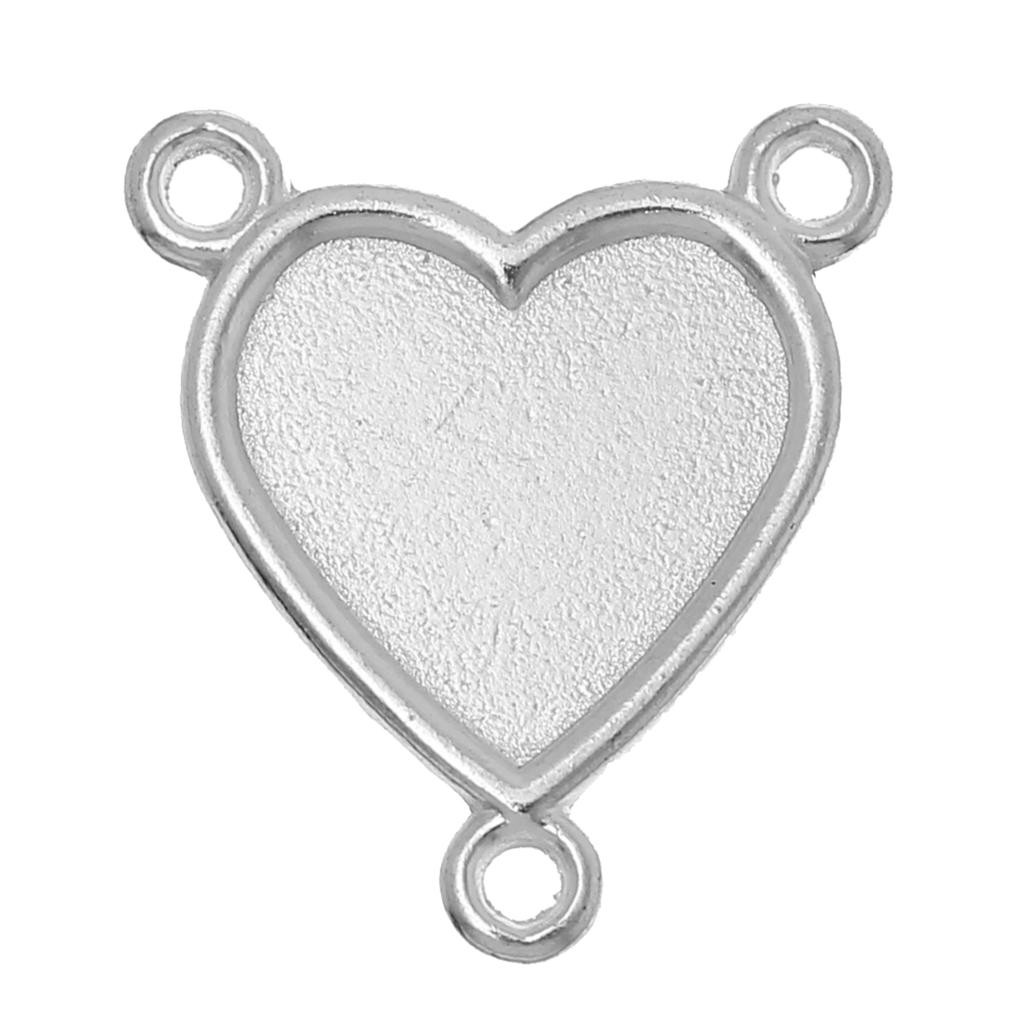 Connectors Heart Silver Plated Cabochon Settings (Fits 16mm x 14mm )26mm(1)x 23mm(7/8),50 PCs 2015 new<br><br>Aliexpress
