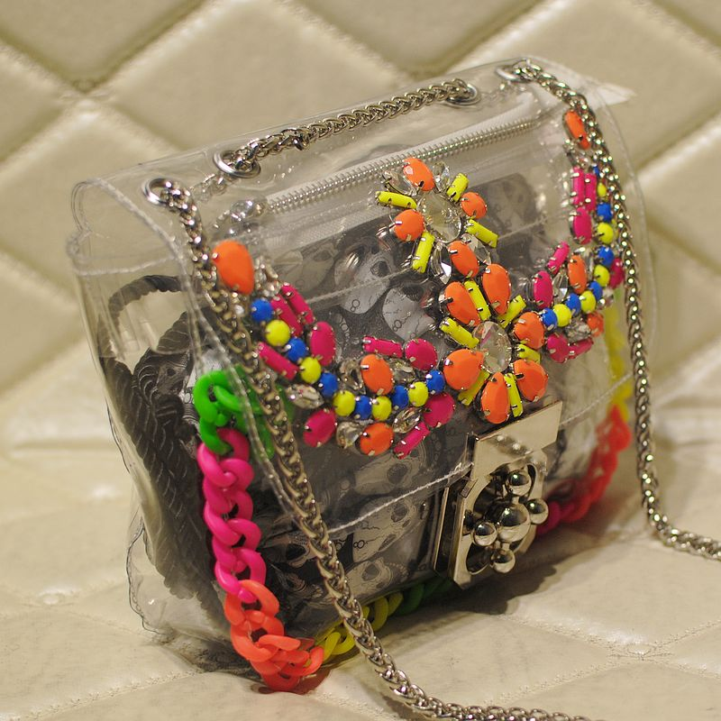 Mymao rhinestone transparent bag jelly bag vintage bag handbag paint colorful diamond bag(China (Mainland))