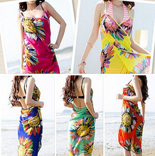 Wholesale Multi-Colored One-Piece Suit Swimming Beach Towel Women Sexy Sunscreen Cover-Up(China (Mainland))