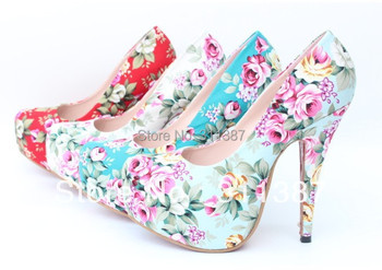 sexy red bottom high heels printed flowers party platform girls pumps wedding eur 32-43 women shoes woman SLWH092
