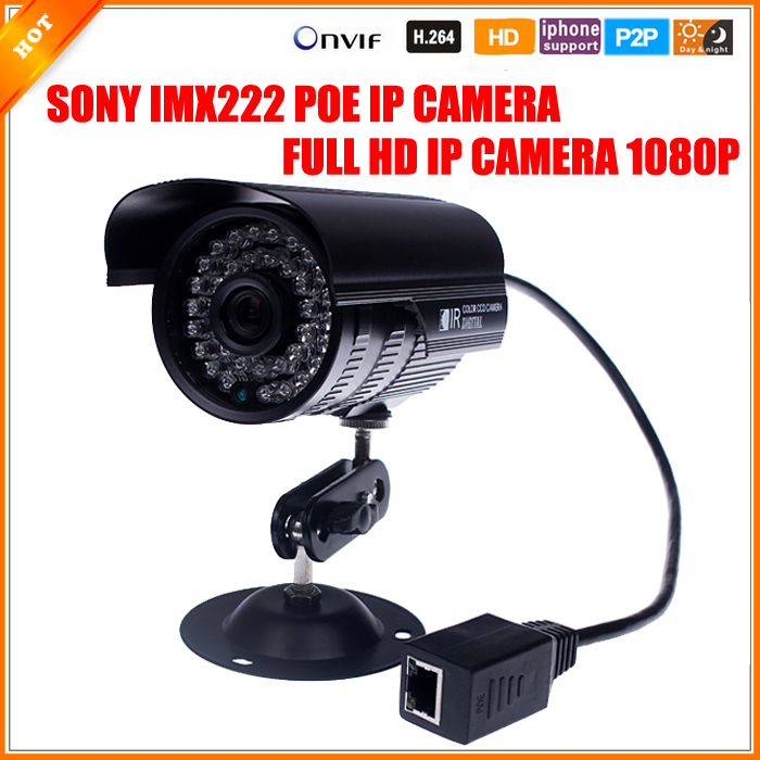 48V IP Camera PoE 1080P Outdoor Full HD 1080P 2MP POE SONY IMX222 Bullet IP Camera Security P2P ONVIF 1080P Lens PoE Cable(China (Mainland))