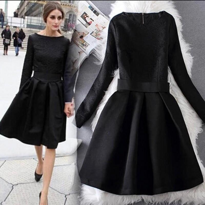Black Dress Autumn Winter 2015 New European Style Runway Elegant Long Sleeve Women Bodycon Dresses Dobby Slim Vestido de Baile(China (Mainland))