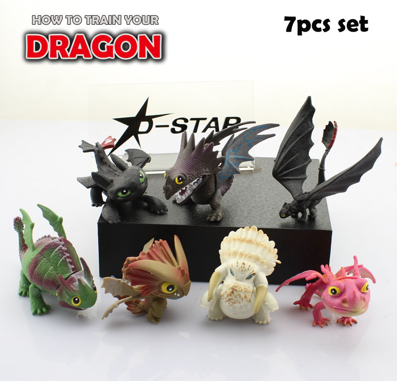 Free Shipping Mini 7pcs How to Train Your Dragon 2 Dragon Toys Night Fury Toothless Solid Set PVC Action Figure Model (7pcs set)