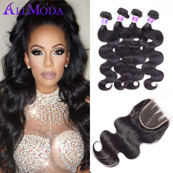 3 Bundles Peruvian virgin hair body wave with closure Unprocessed Peruvian body wave with closure 100% human hair weave color 1B