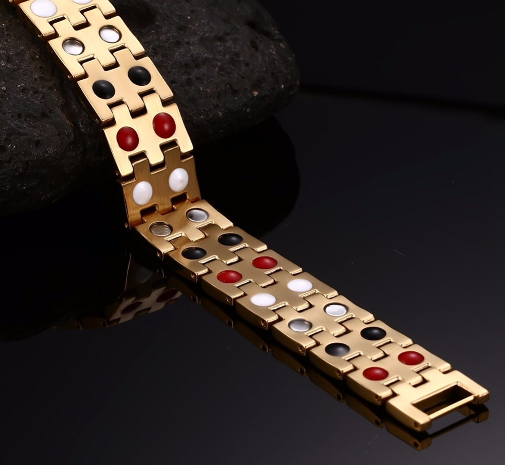 Mens Bracelets Stainless steel 2 row Magnetic Jewelry  Gold 110