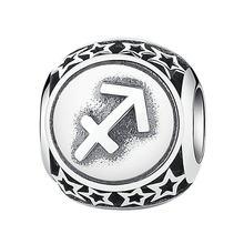 ホット販売本物の 925 スターリングシルバー 12 星座チャームビーズフィットオリジナル本物の DIY の宝石類のギフト(China)