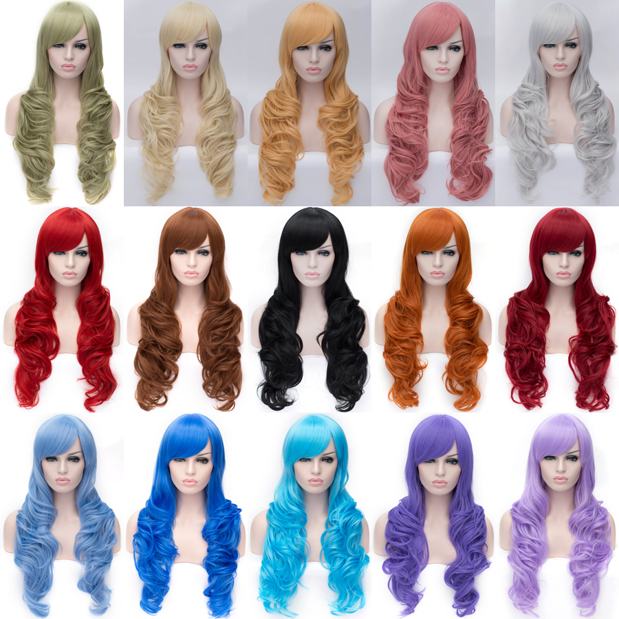Fashion 80cm Long Curly Cosplay Costume Wigs Sexy Women Synthetic Heat Resistance Fibre Hair Wigs. Free shipping(China (Mainland))