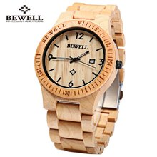 2016 Hot Sell Men Dress Watch BEWELL Men Wooden Quartz Watch with Calendar Display Bangle Natural Wood Watches Gifts Relogio(China (Mainland))