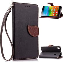 Lenovo K3 Note Flip Case A7000 Leaf Leather Stand Shockproof Wallet Cover Phone Shell Card Holder - Sky Mobile store