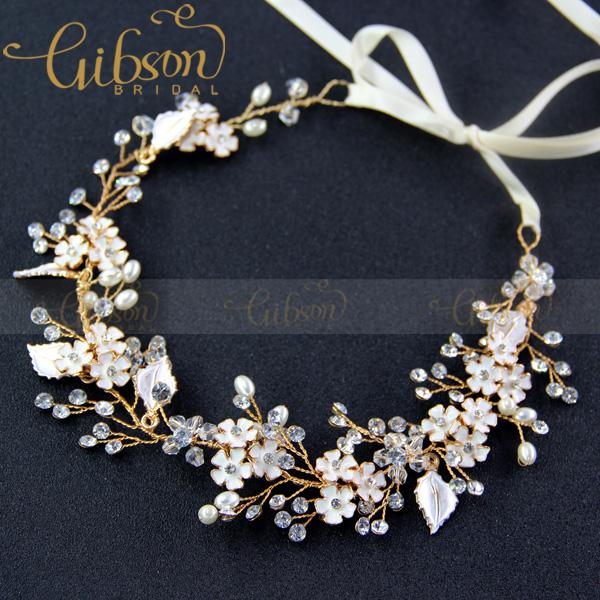 Free Shipping Gibsonbridal Enamel Flower Wedding Bridal Hair Jewellery Girls Headband Crown and Tiara Accessories(China (Mainland))