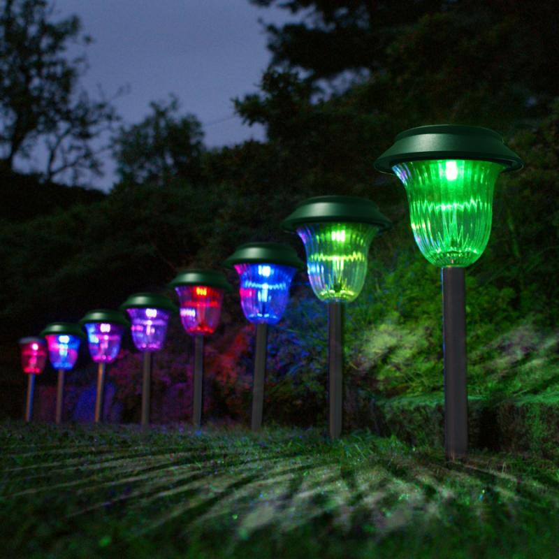 10pcs Set Plastic Garden Led Color Changing Solar Lawn Lights Pathway Outdoor Garden Path Party