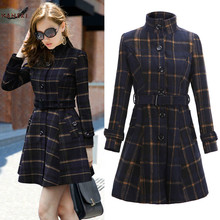 [HANEKI] 2015 Fall and Winter Women Clothes New British Style Collar Waist Skirt Plaid Long Coat Jacket W056