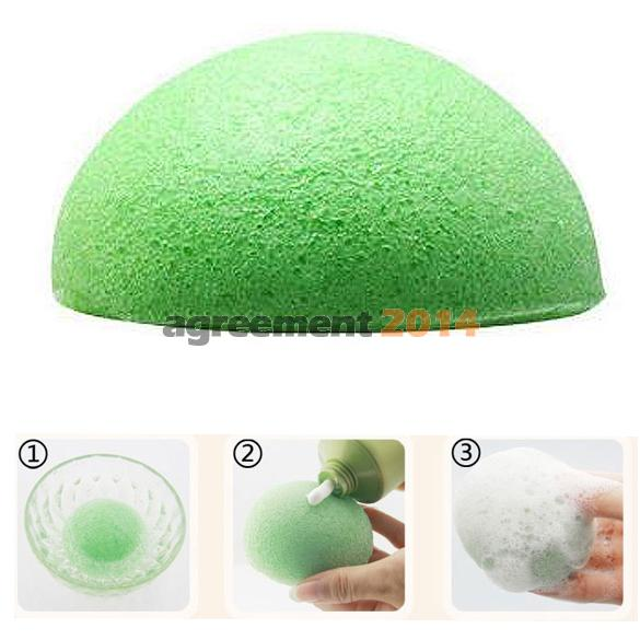 Natural Konjac Konnyaku Facial Puff Face Wash Cleansing Sponge Green ARE4(China (Mainland))