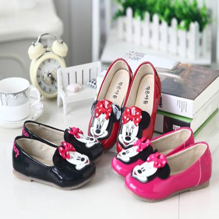 2016 new girls spring shoes Mickey lovely bowknot princess shoes fashion single shoes fro children wholesale<br><br>Aliexpress