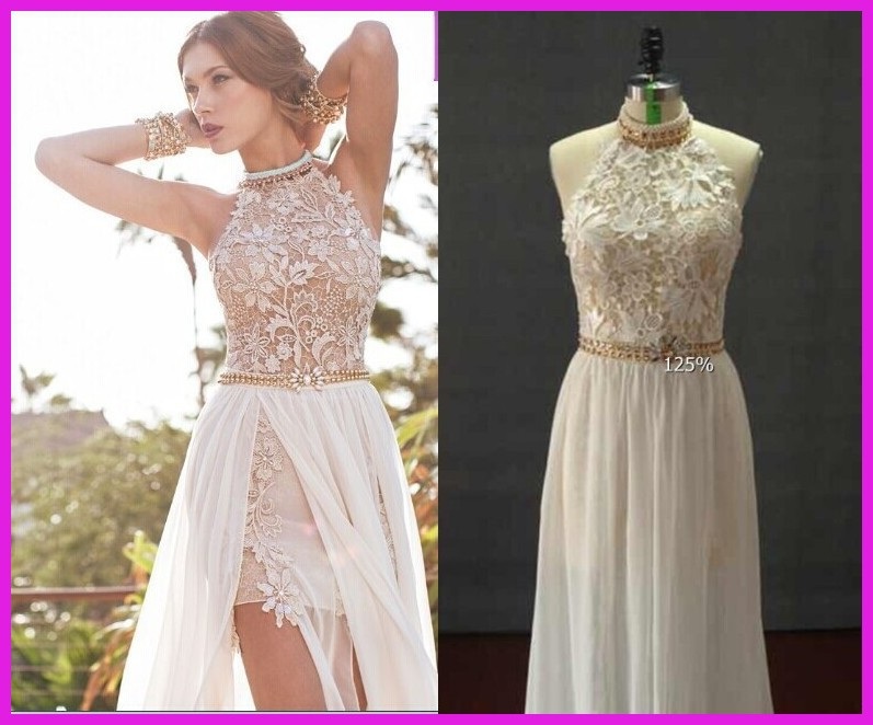 romantic white prom dresses 2014 high low lace special