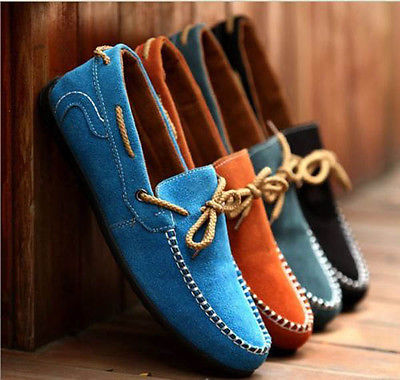 New British Men Suede Casual Lace Slip On Loafer Shoes Moccasins Driving Shoes(China (Mainland))