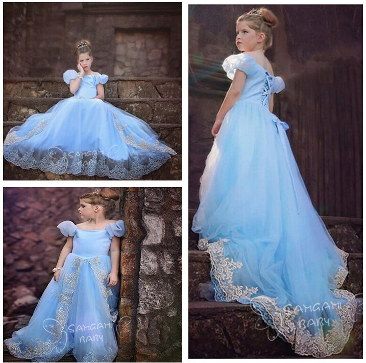 1pc Cartoon Girl Cinderella role playing Princess Dress children formal dress kids clothes Costume,baby wedding party dress.(China (Mainland))