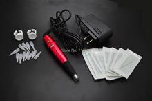 Permanent Makeup Pen 3 Colors Eyebrow Tattoo Makeup Pen Rotary Tattoo Machine Kit With Makeup Needles Needles Cup(China (Mainland))