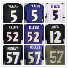 5 Flacco Jersey Elite #57 Mosley Jersey 100%Stitched Lewis Men's elite jersey Jerseys Black Purple Size:M-XXXL Best Quality,Auth(China (Mainland))