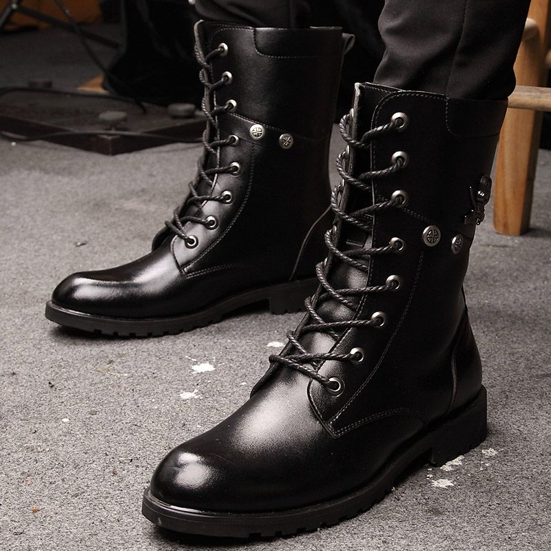Biker Mens Dress Safety Tactical Boots Korean Rivets Stylish Euro Style Cowhide Cotton Padded High Top Cross Strap<br><br>Aliexpress