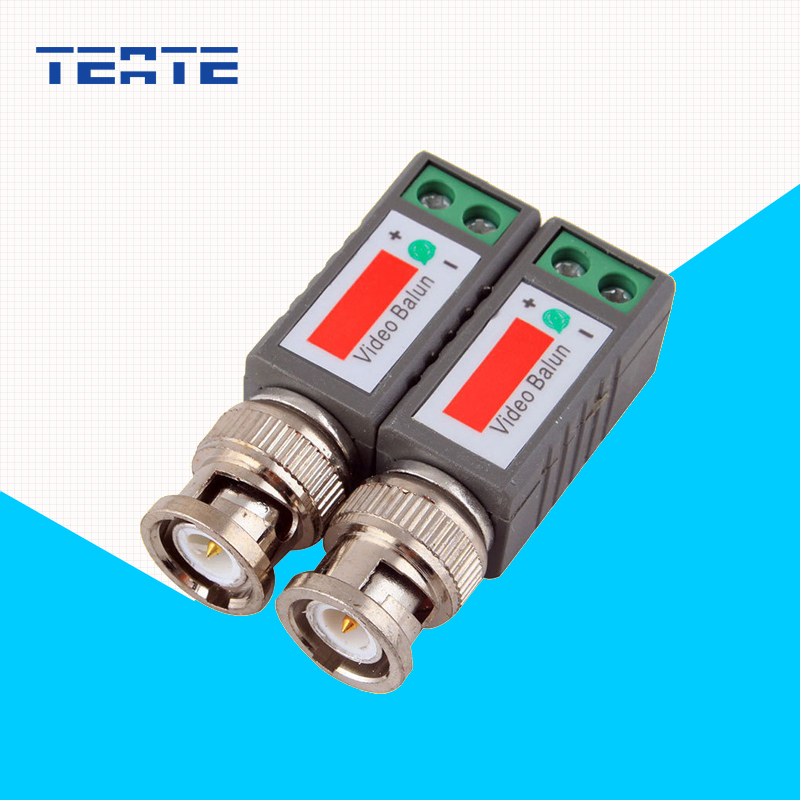 TEATE Surveillance System Passive BNC Video Balun to UTP Transceiver Connector with 2X Coax CAT5 for Camera System TE-G07CAB(China (Mainland))
