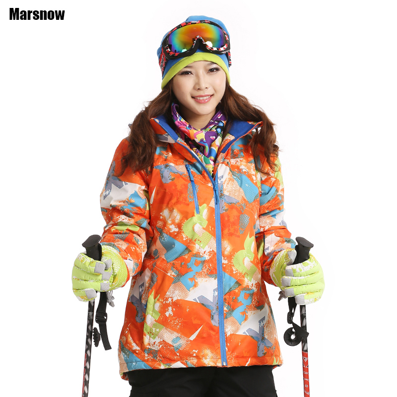 Dropshipping ski Coats Thicken New 2016 print warm thermal waterproof windproof Collar Hooded Outwear winter jacket women(China (Mainland))