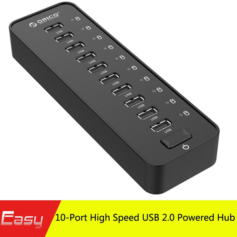 ORICO P10-U2 10 Port External USB HUB Ultra Mini USB HUB for Laptop & Desktop (10 Port HUB with Power Adapter) - Black