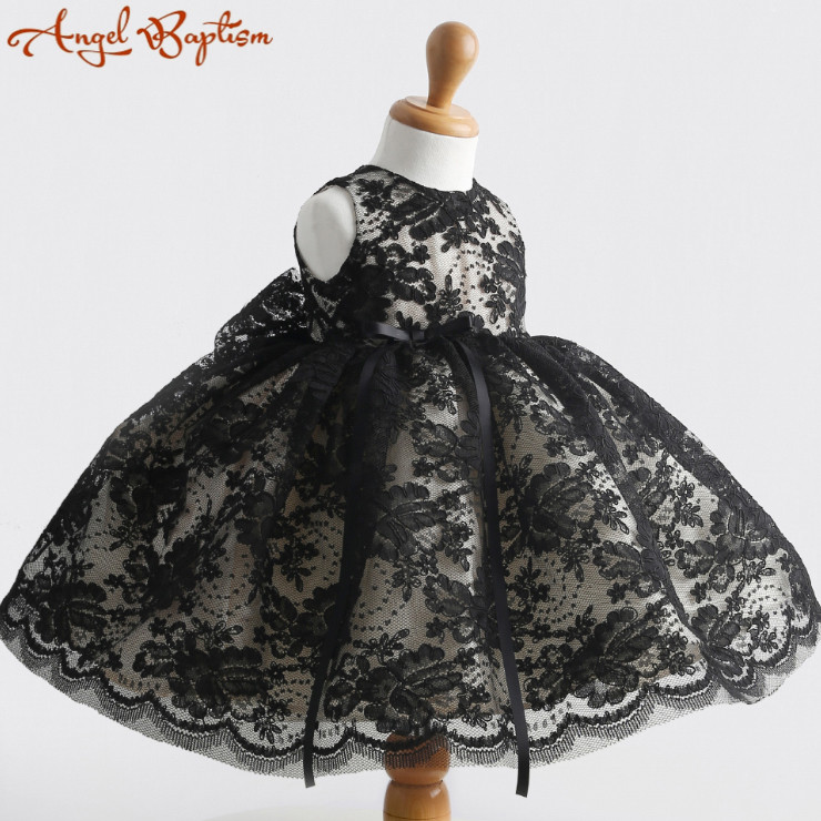 Black/lace Flower Girl Dress Baby 1 year Birthday party Dress red thanksgiving gowns white/ivory christening dress baptism gown(China (Mainland))