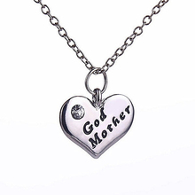 Love Heart Pendant Rhinestone Godmother Necklace Jewelry Mothers Day Mom Gift(China (Mainland))