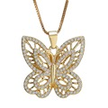 Fashion Gold Plated Butterfly Necklaces Rhinestone Sweater Necklace For Women Pendant Necklace Jewelry