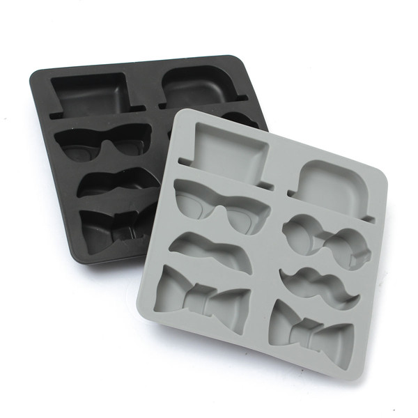 Best Promotion! Ice Cube Tray Mold Beard Glasses Hat Tie Gentleman Glasses Freeze Mould Maker Excellent Quality(China (Mainland))