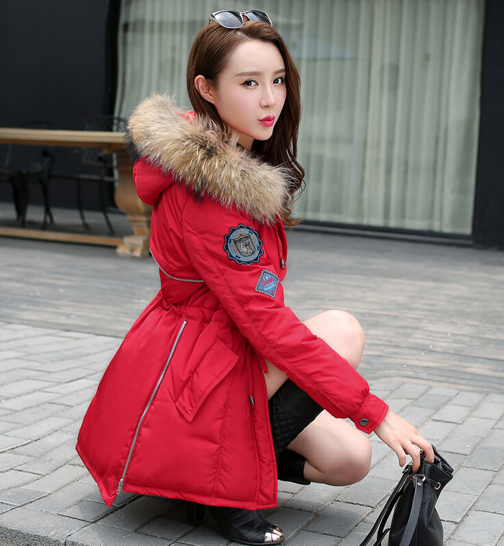 Fashion Raccoon fur collar down parka women down cotton coat long thick 2015 winter jacket women coats outerwear ladies jackets(China (Mainland))