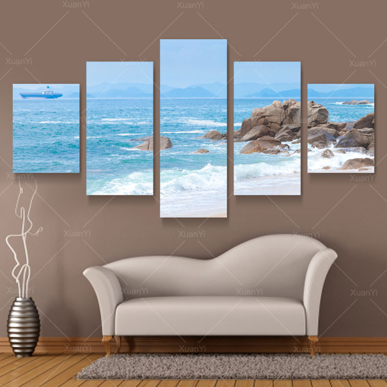 Wall art modern abstract oil paintings sea beach canvas picture wall