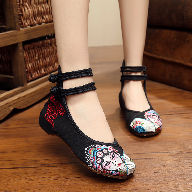 Daomadan Chinese Peking Opera Artistes  Black Chinese Embroidered With Soft Bottom Shoes Canvas Casual Shoe<br><br>Aliexpress