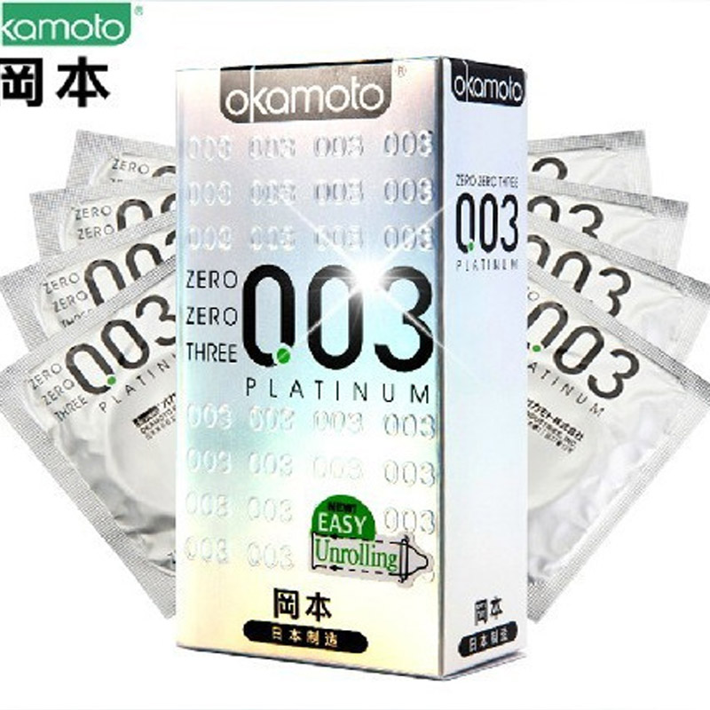 10pc The new Hardcover version Okamoto 003 Platinum Okamoto Slim condoms adult supplies Japanese sales of the first(China (Mainland))